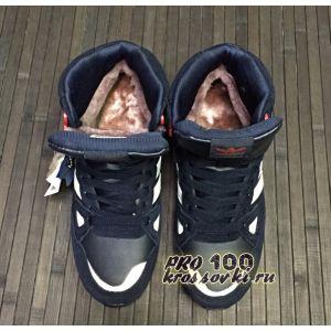 Кожаные высокие синие кроссовки Adidas zx 750 на меху