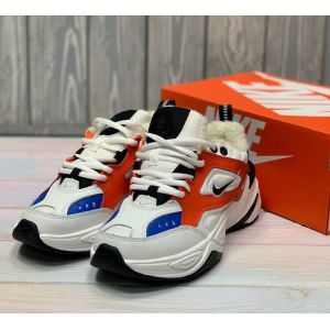 Зимние Nike M2K Tekno White Black Orange на меху