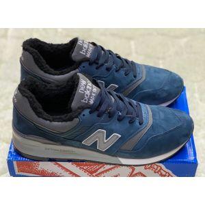 зимние кроссовки New Balance 990 на меху синие