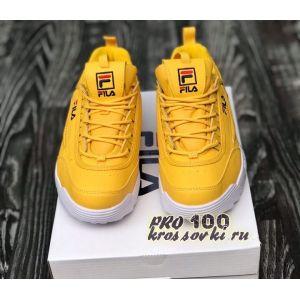 Женские кроссовки FILA Disruptor II желтые с белым