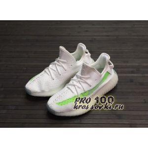 кроссовки Adidas Yeezy Boost 350 V2 белые с зеленым