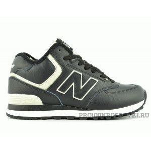 Зимние кожаные кроссовки на меху New Balance 574 черные