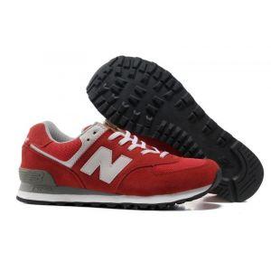 мужские кроссовки New Balance 574 серо-красные купить