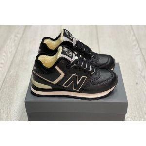 New Balance 574 кожаные на меху черные