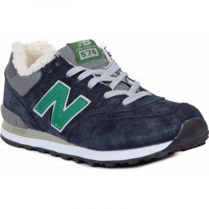 New Balance 574 зимние на меху синие с зеленым