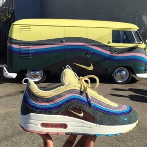 кроссовки Nike Air Max 90 синие с желтым