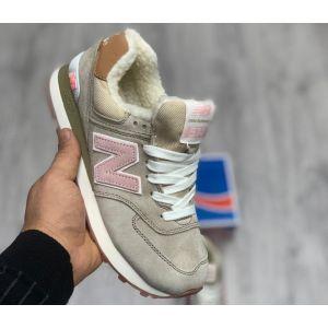 Зимние женские кроссовки на меху New Balance 574 бежевые