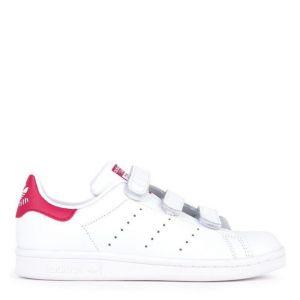 женские кеды Adidas Stan Smith белые с розовым