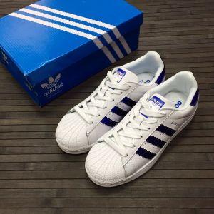 женские кроссовки Adidas Superstar White Blue