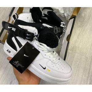 Зимние белые высокие кроссовки Nike AF-1 Mid '07 на меху