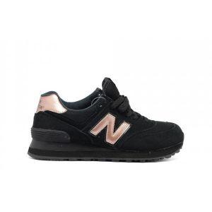 Кроссовки замшевые New Balance 574 Black Gold