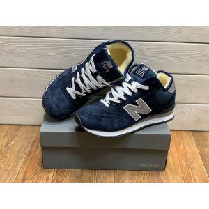 Зимние кроссовки New Balance 574 mid синие на меху